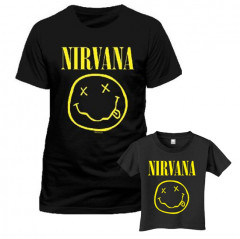 Duo Rockset Nirvana Vater-T-shirt & Kinder-T-shirt Smiley