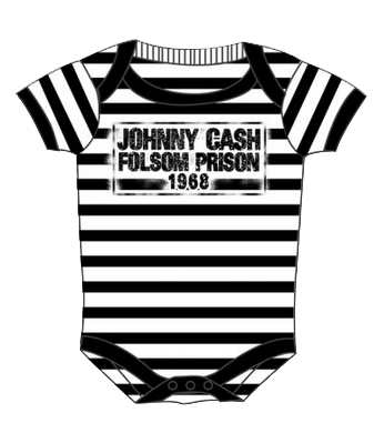 Johnny Cash body baby rock metal Folsom stripes